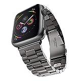 Apple Watch 金属ベルト Evershop 44mm/42mm ステンレス アップルウォッチ ベルト ビジネス風 時計バンド アップルウォッチ バンド 腕時計ストラップ バンド調整 series 1 series 2 series 3 series 4 series 5対応 (44mm/42mm, ブラック) apple watch5 バンド