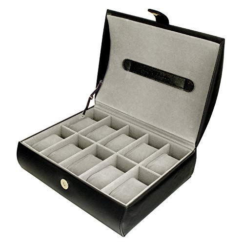 Mele & Co Gents Black Textured Faux Leather 10 Watch Storage Case Organiser Box