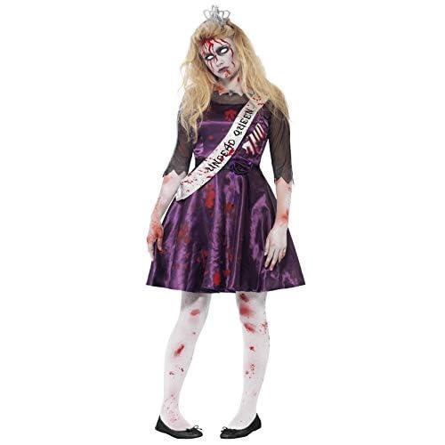 Smiffy's 44218S - Zombie Prom Queen Costume con Latex Rib Inserto 3D Felt Crown & Sash, S