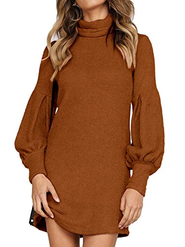 Auxo Vestito Maglione Donna Inverno Elegante Collo Alto Abito Slim Aderente in Maglia a Manica Lunga Pullover 03-Marrone L