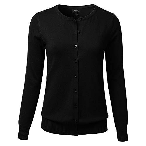 ATOUR Pullover für Damen, Knopfleiste, Rundhalsausschnitt, Lange Ärmel, weiche Strickjacke - Schwarz - Mittel