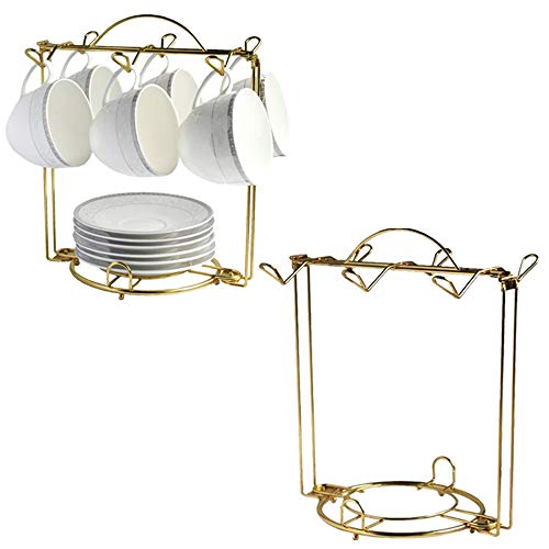 HOHIYA Tea Cup and saucer Display Rack Stand 2pc Teacup...