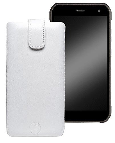 Favory Original Etui Tasche für Cyrus CS24 Leder Etui Handytasche Ledertasche Schutzhülle Hülle Hülle Lasche mit Rückzugfunktion* in Weiss