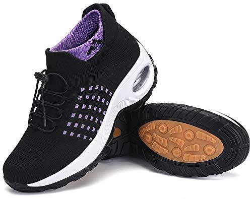 Zapatillas Deporte Mujer Zapatos para Andar Transpirable Mesh Bambas Correr Caminar Calzado Trabajo Morado-Negro, Gr.37 EU