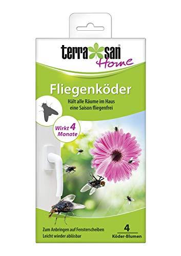 Terrasan Home Fliegenköder Blume, 4 Stück, Für Fensterscheiben, Leicht ablösbar, 4 Monate Wirkung