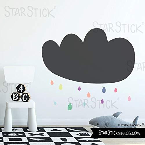 Vinilo pizarra - Nube y gotas de lluvia de colores - T3...