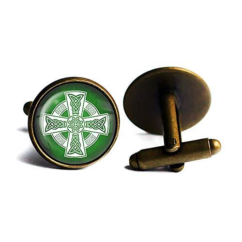 Celtic Cross White on Green Antique Bronze Cufflinks