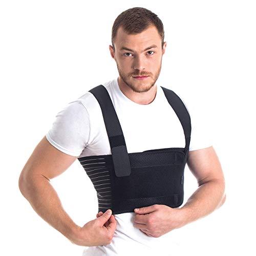Männer Brust-Korsett mit Brustgurt mit Hosenträger Ideal bei koronaren postoperativen gebrochenen Rippen und Brustbein Schwarz Large