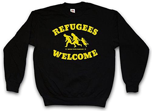 Urban Backwoods Refugees Welcome Sweatshirt Pullover Schwarz Größe XL
