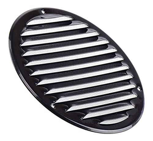 Rejilla de ventilación redonda de metal negro con protección contra insectos, 160 mm