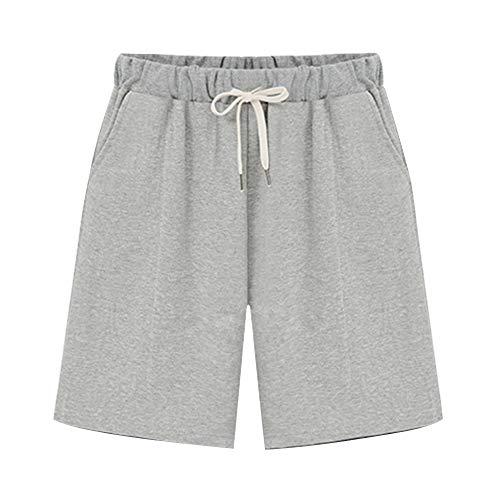 Raroauf Ladies Knee Length Elastic Waist Soft Knit Jersey Bermuda Shorts with Drawstring Gray Tag 5XL-US 18