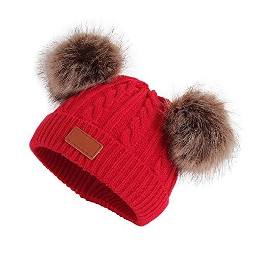 TanithM Winter Warme Mütze für Neugeborene, niedliches Kleinkind Kleinkind Kind Häkelmütze Mütze Mütze Mädchen Jungen Strickmütze Twist Woven Double Ball Wool Cap