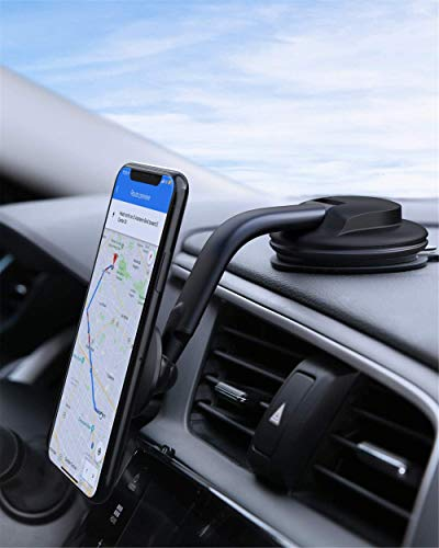 AUKEY Phone Holder for Car 360 Degree Rotation Dashboard Magnetic Car Phone Mount Compatible with iPhone 11 Pro Max / 11 / XS Max/XS / 8/7, Samsung Galaxy S10+, Google Pixel 3 XL, and More