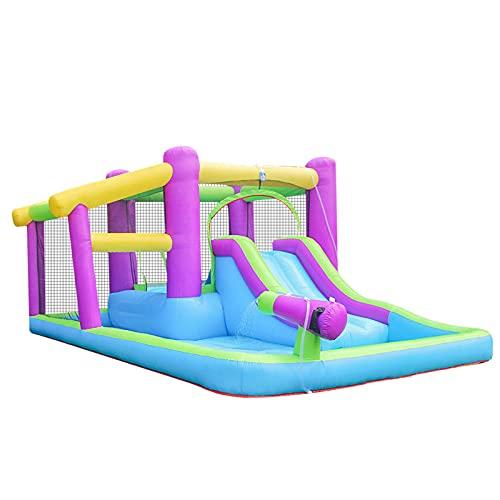 Castillo Hinchable Infantil con Tobogán Piscina Cama de Salto Inflador y Bolsa de Transporte 400x280x186cm Multicolor