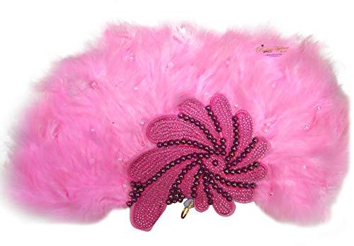 PrestigeApplause - Jewels UK - Abanico de Plumas para Boda, diseño Tradicional Africano, Color Rosa Claro