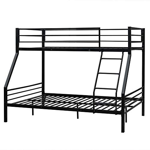 Bonnlo Bunk Bed Twin Over Full Sturdy Metal Bed Frame with Flat Ladder and Guardrail for Adults/Children/Teens, Black