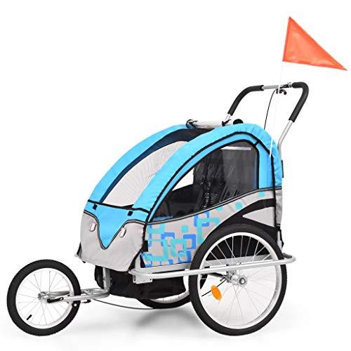 vidaXL Atrelado bicicleta/carrinho infantil 2-em-1 azul e cinzento
