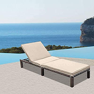 MAGIC UNION Patio Adjustable Wicker Chaise Lounge with Cushions Outdoor Chair Sofa Set