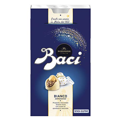 Baci Perugina Bianco Cioccolatini al Cioccolato Bianco, Ripieno al Gianduia e Nocciola Intera - 200 gr