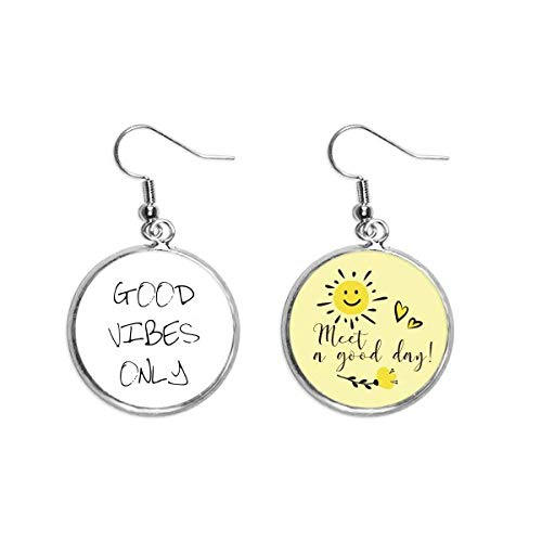 Good Vibes Only Quote Art Deco Gift Fashion Ear Drop Sun Flower Earring Jewelry Fashion