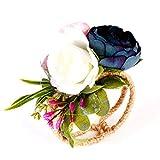 KTENME Pulsera de flores de muñeca azul tejida a mano, ramillete de novia, dama de honor, flor para niña