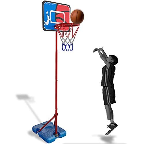 HAHAKEE Panier de Basket pour Enfants,Hauteur Réglable de 100-200 cm,Ajustable Portable Jeux Intérieur Exterieur Jouet Ballon de Basket avec Ballon et Pompe pour Garçon Fille 3-9 Ans