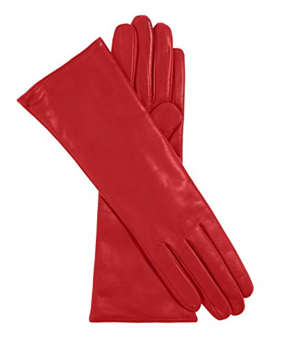 Fratelli Orsini Women's Italian 4 Button Length Cashmere Lined Leather Gloves Size 7 Color Red