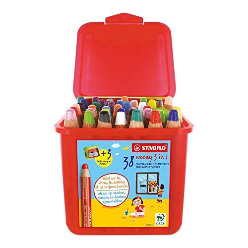 Stabilo Woody - Lápices de colores, acuarela y cera, 3 en 1, caja de 38 y 3 sacapuntas, con 13 colores diferentes