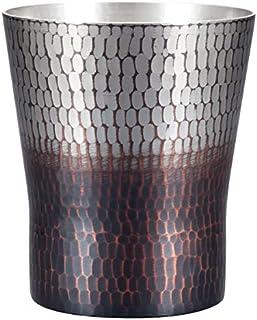 新光金属 焼酎グラス 錫/黒被仕上げ 小(容量:200ml) 純銅手打ち鎚目焼酎カップ BR-205SB