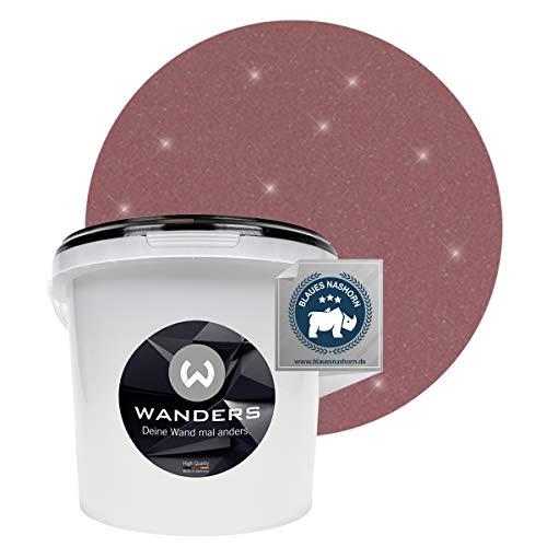 Wanders24® Glimmer-Optik (3 Liter, Silber-Altrosa) Glitzer Wandfarbe - Wandfarbe Glitzer - abwaschbare Wandfarbe - Glitzerfarbe - Made in Germany