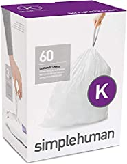 Designed to fit simplehuman trash cans perfectly No bunching, overhang or slipping Extra-durable plastic and thick double seams Tear and leak-resistant garbage bags Extra strong to hold more so you take out less Strong drawstring handles One-at-a-tim...