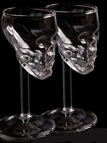 XIAOTENG 2 piezas de cristal mini de calavera de cristal para vino Decantador de copas de vino, vino tinto o cócteles, whisky, cerveza y champán (75 ml)