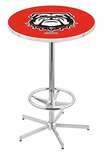 "Holland Bar Stool Co. L216-42"" Chrome Georgia Bulldog Pub Table image"