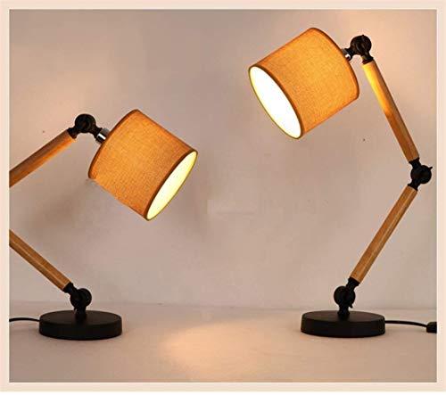 ZUQIEE lámpara de cabecera Lámparas de Mesa, lámparas de Mesa de Madera Simple, romántica Creativa del Dormitorio de la lámpara de Noche, LED lámpara de Escritorio, de Fondo de Tela de Lectura luz de