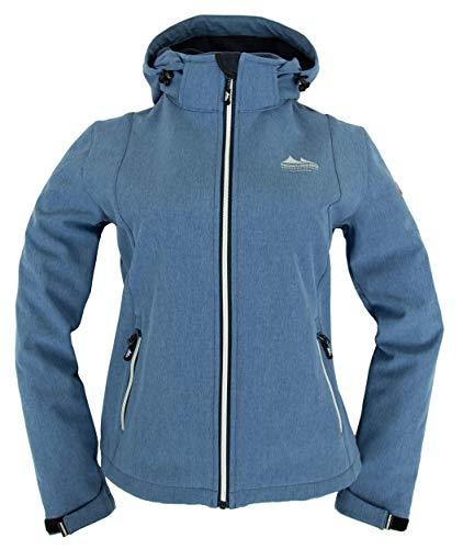 Nordberg Damen Softshell Jacke Rinda in blau Melange mit Abnehmbarer Kapuze und windgeschütztem Reißverschluss