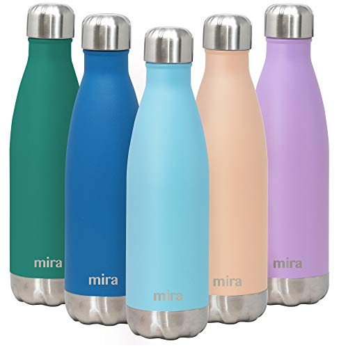 MIRA 17 Oz Stainless Steel Vacuum Insulated Water Bottle | Double Walled Cola Shape Thermos | 24 Hours Cold, 12 Hours Hot | Reusable Metal Water Bottle | Leak-Proof Sports Flask | Robin Blue