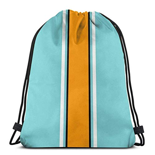 WH-CLA Drawstring Bags Classic Gulf Racing Stripes Casual Lightweight Unique Drawstring Backpacks Storage Cinch Bags Outdoor Print Beach Bag Drawstring Bags Men Women For Sport Yoga Gym