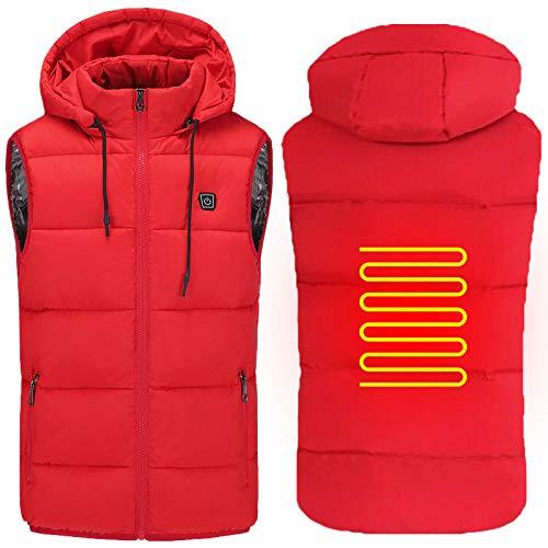SUIYI Rosso USB Giacca Moto Riscaldante per Uomini/Donne,Lavabile Leggero USB Abbigliamento Termoriscaldato con 2 Cuscinetti di Riscaldamento con 3 Temperature Regolabili,XXXXL Giacca Autoriscaldante