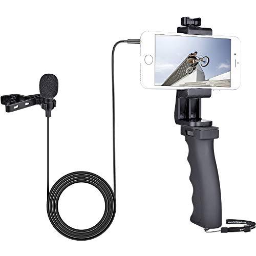 Smartphone Vídeo Grabación Estabilizador Equipo,Micrófono de Solapa con Clip Micrófono de Solapa Soporte de Agarre Manual para iPhone Samsung YouTube Livestream Vlog Entrevista -3.5mm Jack / 1.5m Cord