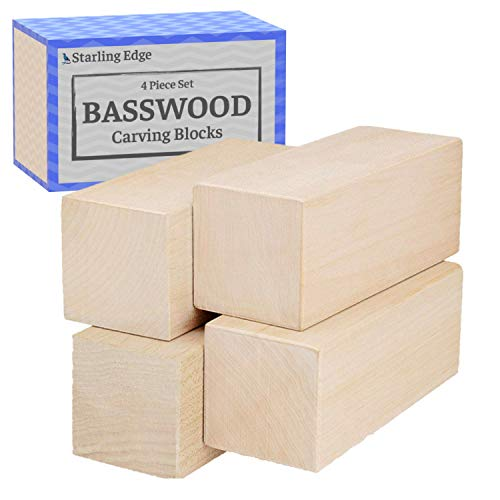 Basswood Carving Blocks - 4 Piece Wood Carving Kit with 2' x 2' x 5' Large Unfinished Whittling Wood Blank Blocks for Kids or Adults