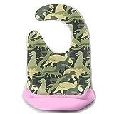 Alimentación Baberos de bebé Camuflaje Patrón de ejército Camiseta de dinosaurio Delantal de alimentación de silicona desmontable Toalla de ratón Toalla de bebé Babero de goteo Babero de dentición in