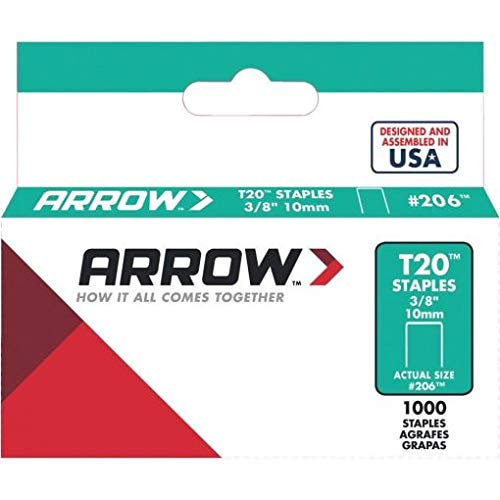 Arrow 206 Genuine T20 3/8-Inch Staples, 1,000-Pack