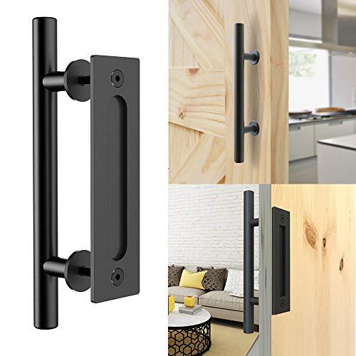 CCJH Tirador y tirador de puerta engastado en negro para puertas de corredera de madera corredizas