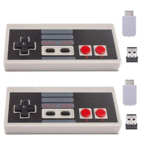 Wireless Controller for Mini NES Classic Edition - Upgraded Turbo Function,Build in Rechargeable Battery,with USB Wireless Adapter Compatible with PC, Mac OS, Raspberry PI by Honwally(2 Packs)