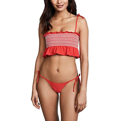 Lisa Marie Fernandez Womens Selena Smocked Bikini Set Tomato 4