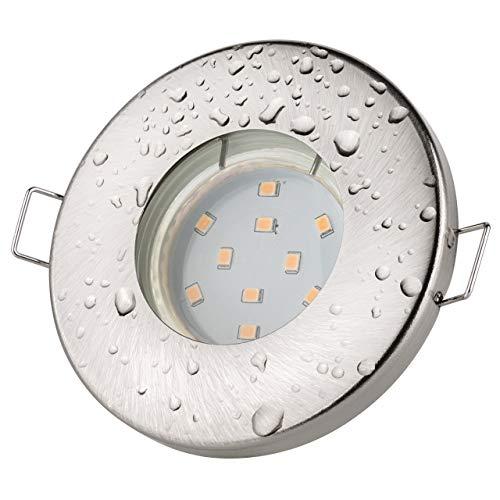 Einbaustrahler IP65 für Badezimmer aus gebürstetem Edelstahl - Mit LED-Lampe 12 V, GU5.3 / MR16, 12 V, 4,5 W - Weiß / warm - 2700 K - 380 lm - Lampensockel und Verbindungskabel enthalten