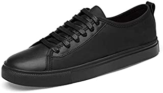 XUJW-Shoes, Mens Fashion Sneakers for Men Casual Flat Walking Shoes Lace Up Durable Comfortable Walking Travel Classic Leather Outdoor Running Skating (Color : Black, Size : 7 UK)