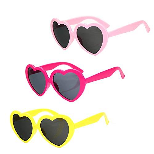 3 pezzi Occhiali da sole a forma di cuore, Occhiali da vista Love Heart, Occhiali da sole da coppia Porta gli occhi pieni di motivi a forma di cuore per creare un'atmosfera romantica, confessione