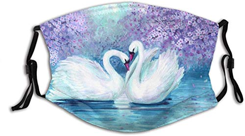 Fashion Face Mask with Filter Pocket Washable Face Bandanas Balaclava Reusable Fabric Mask with 2 Pcs Filters-Novel Watercolor Purple Landscape Swans Prints-1 PCS