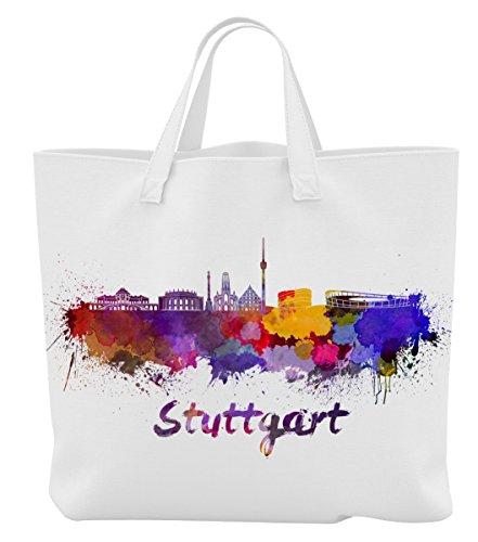 Merchandise for Fans Einkaufstasche - 45 x 42 cm x 9,5 cm - Motiv: Deutschland Stuttgart Baden-Württemberg Silhouette - 09